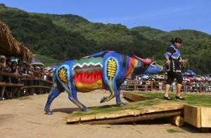 Боди-арт на буйволах в Китае