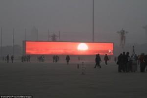 Из-за смога китайцы лишены возможности видеть солнце