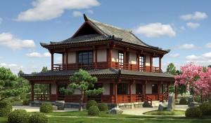 Камень для экстерьера дома в китайском стиле