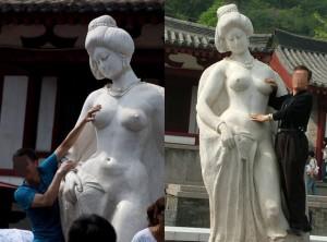 Китайские власти запретили трогать за грудь статую древней красавицы