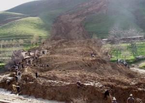 На северо-западе Китая произошел сход оползня