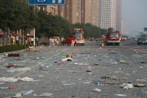 Опустошенная земля последствия взрыва в Китае засняли с дрона4