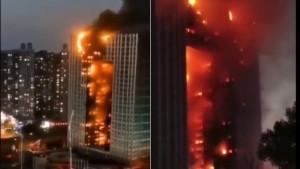 В Китае горел небоскреб