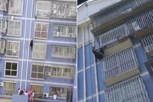 В Китае мужчина спас ребенка, повисшего на пятом этаже