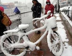 В Китае выпал снег