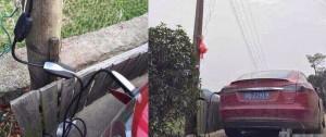 Владелец Tesla Model S зарядился прямо от линии электропередач2